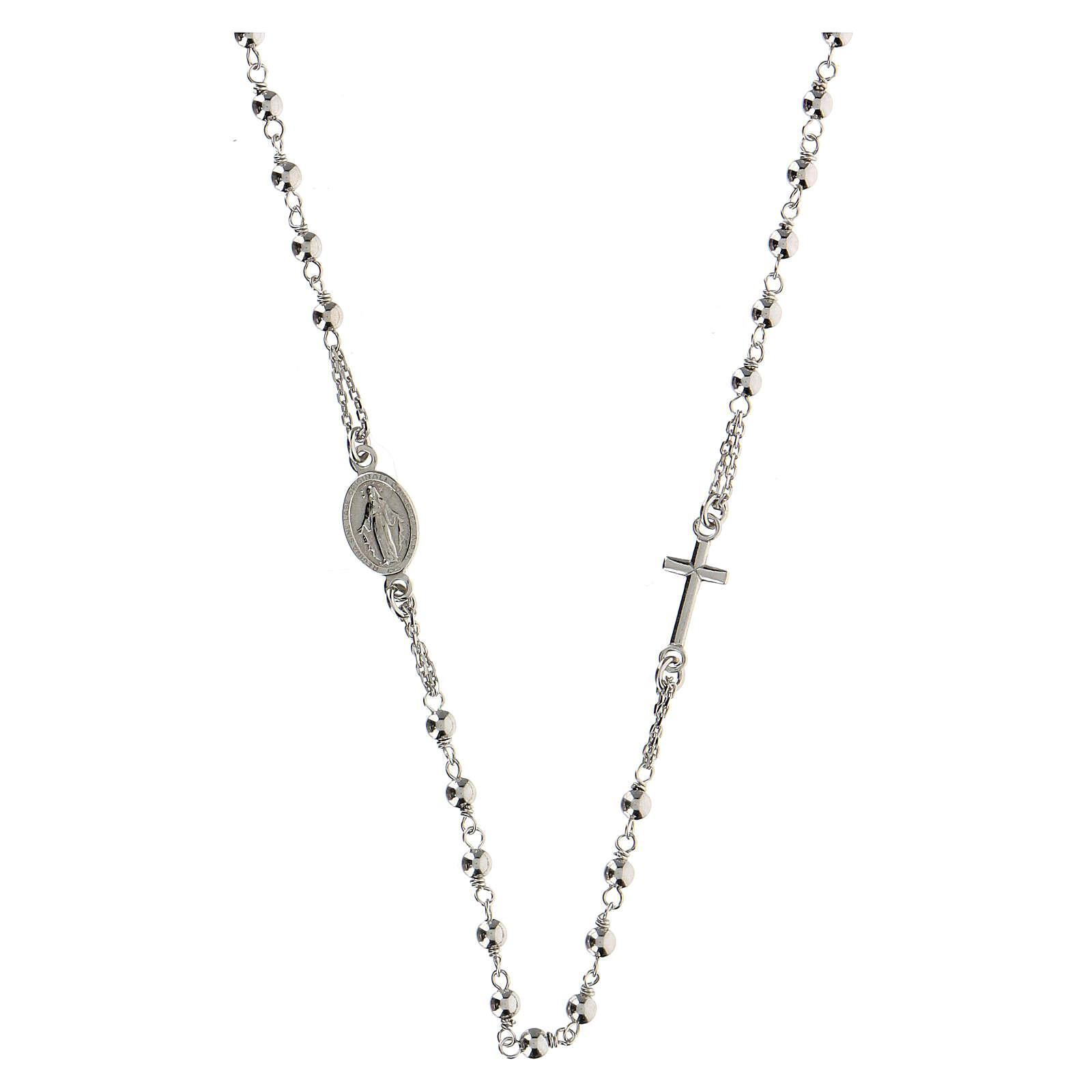 Collana rosario girocollo AMEN argento 925 fin. Rodio 4