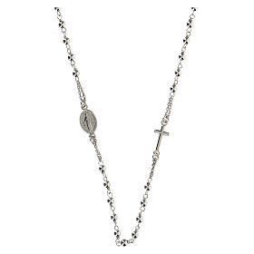 Collana rosario girocollo AMEN argento 925 fin. Rodio s4