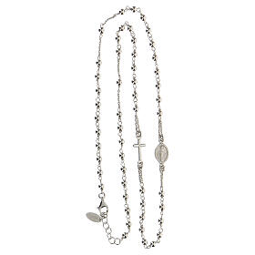 Collana rosario girocollo AMEN argento 925 fin. Rodio s6