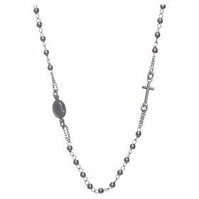 Collana rosario girocollo AMEN argento 925 fin. Rodio s2