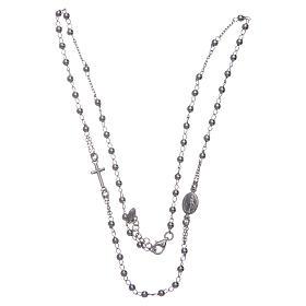 Collana rosario girocollo AMEN argento 925 fin. Rodio s3