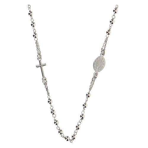 Collana rosario girocollo AMEN argento 925 fin. Rodio 5