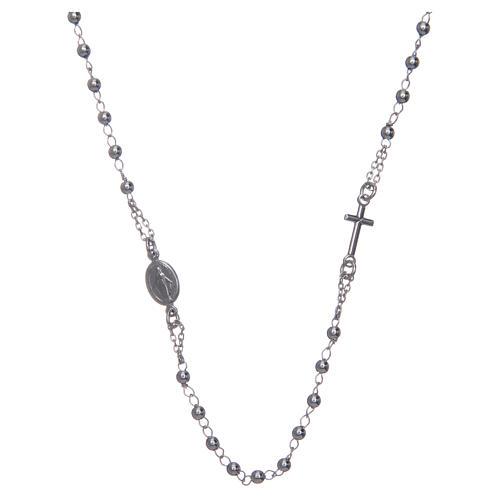Collana rosario girocollo AMEN argento 925 fin. Rodio 1