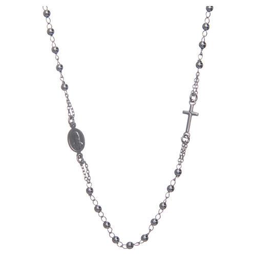 Collana rosario girocollo AMEN argento 925 fin. Rodio 2