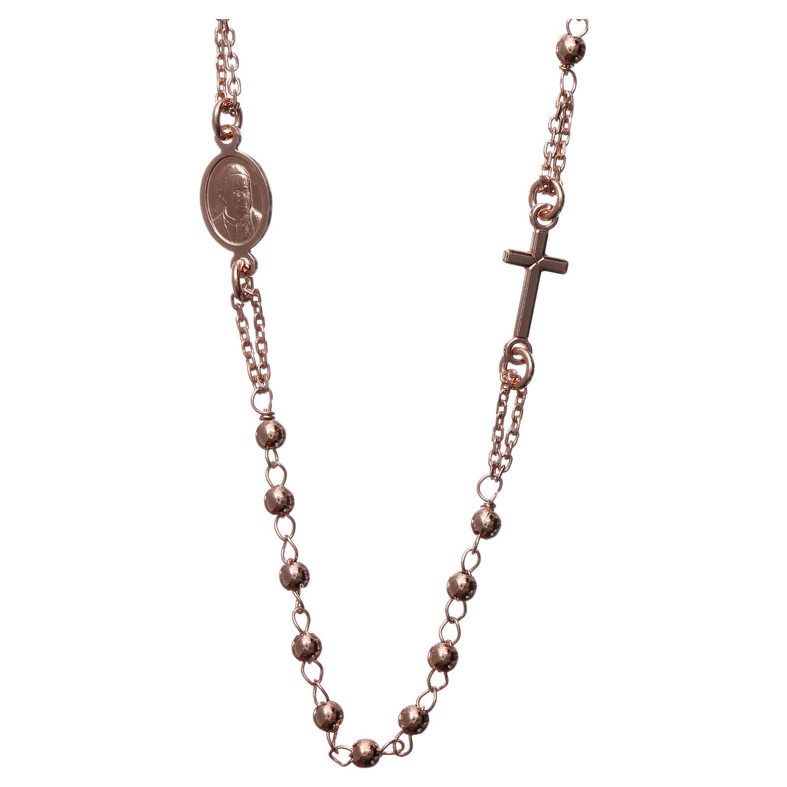 Collana rosario girocollo AMEN argento 925 fin. Rosè 4