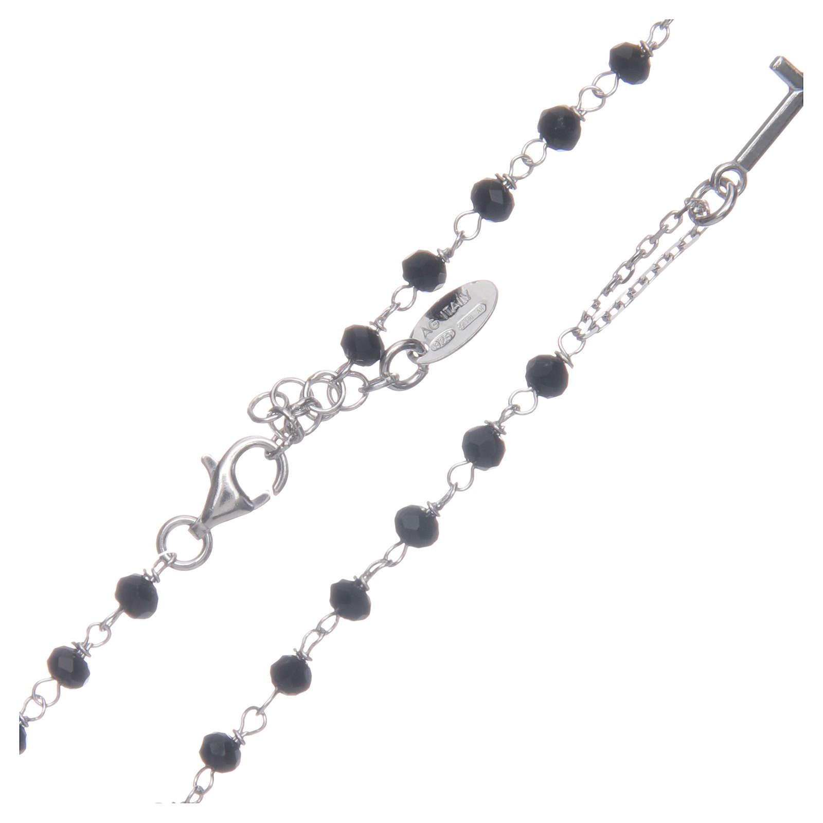 Collana rosario girocollo AMEN cristalli neri argento 925 fin. Rodio 4