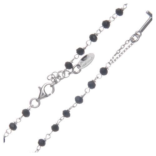Collana rosario girocollo AMEN cristalli neri argento 925 fin. Rodio 1