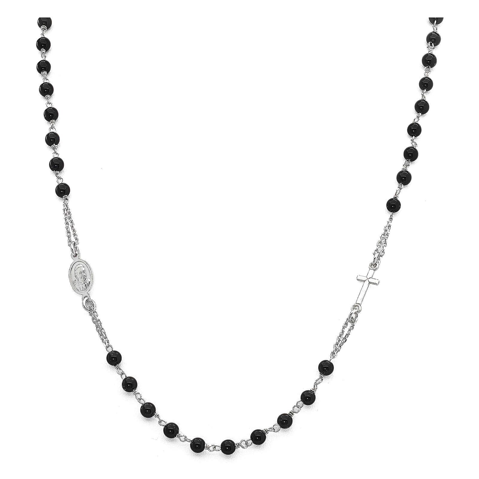 Naszyjnik różaniec na szyję AMEN kryształy czarne srebro 925 wyk. Rodio 4