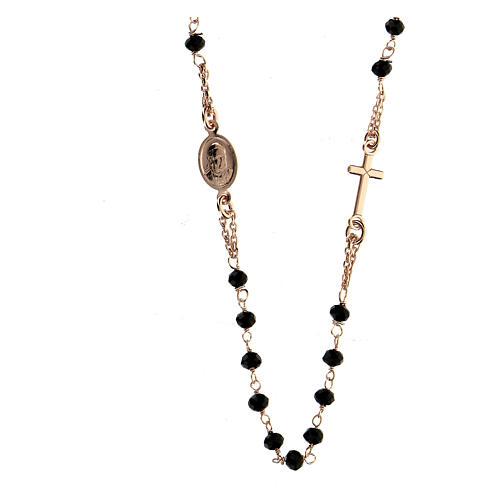 Rosenkranz Kette AMEN schwarzen Perlen rosa Silber 925