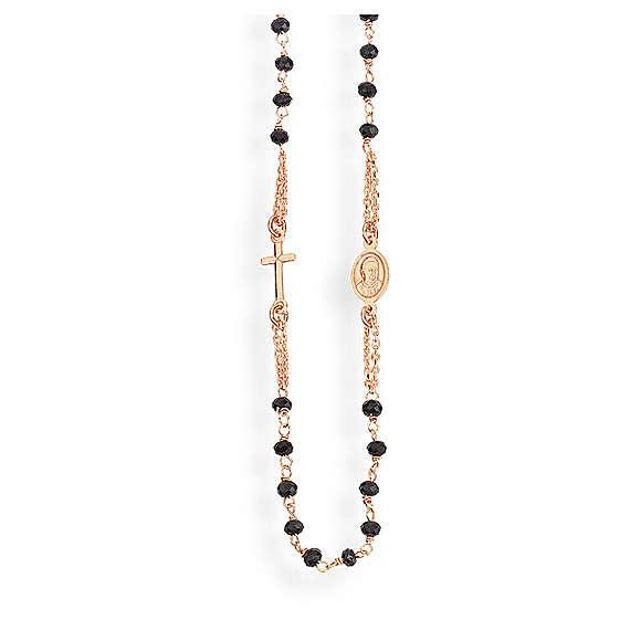 Collar rosario AMEN cristales negros plata 925 rosado 4