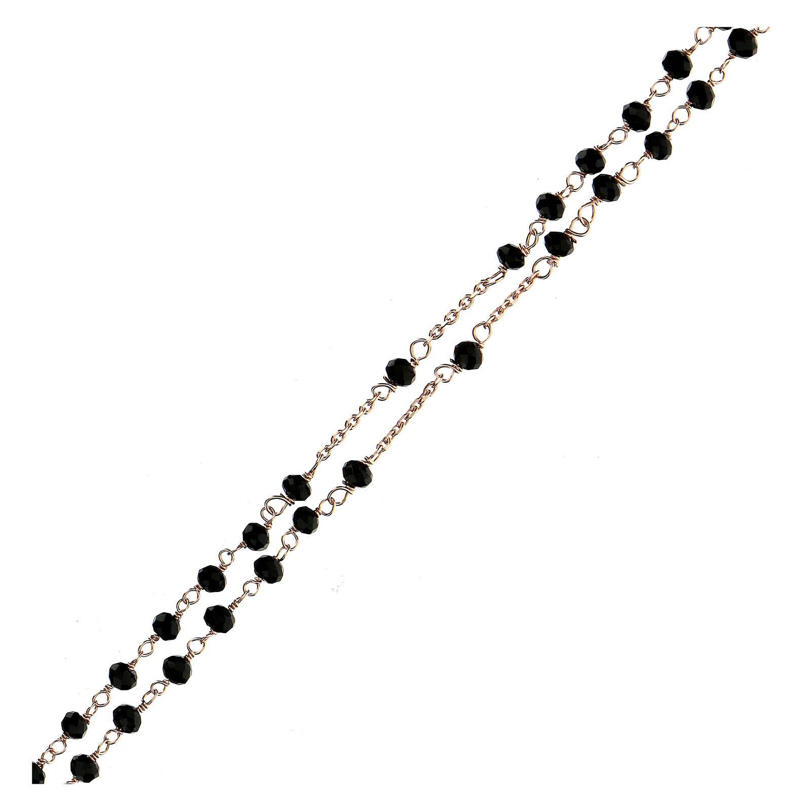 Collier chapelet tour du cou AMEN cristaux noirs arg 925 rosé 4