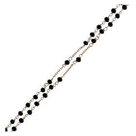 Collier chapelet tour du cou AMEN cristaux noirs arg 925 rosé s3