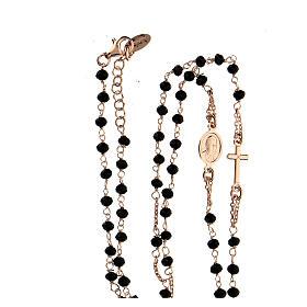 Collier chapelet tour du cou AMEN cristaux noirs arg 925 rosé s4