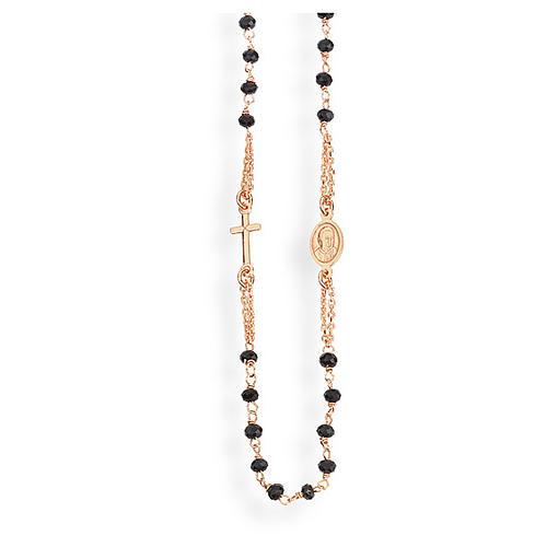 Collier chapelet tour du cou AMEN cristaux noirs arg 925 rosé 1