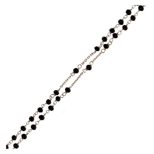 Collana rosario girocollo AMEN cristalli neri argento 925 fin. Rosè 3