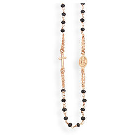 Pingentes, Cruzes, Broches, Correntes: Colar terço gargantilha AMEN cristais pretos prata 925 acab. rosê