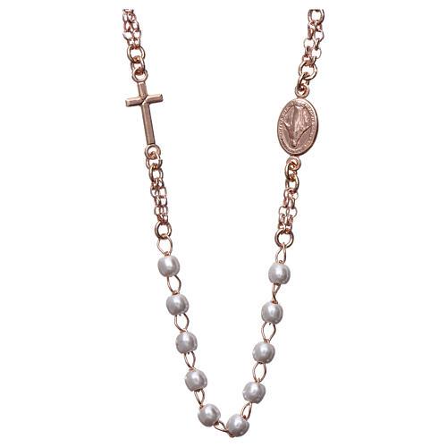 Rosenkranz Kette AMEN weißen Perlen rosa Silber 925