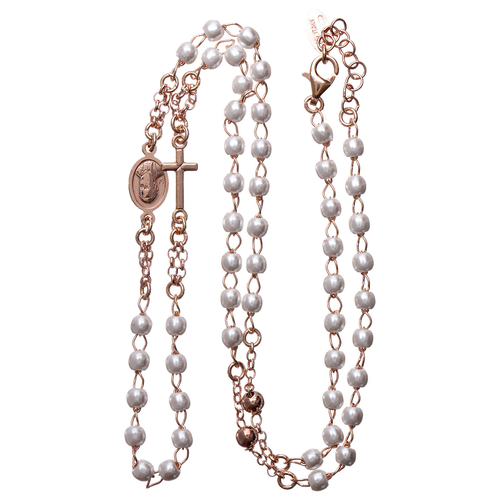 Rosary AMEN Necklace pearls silver 925, Rosè finish 4
