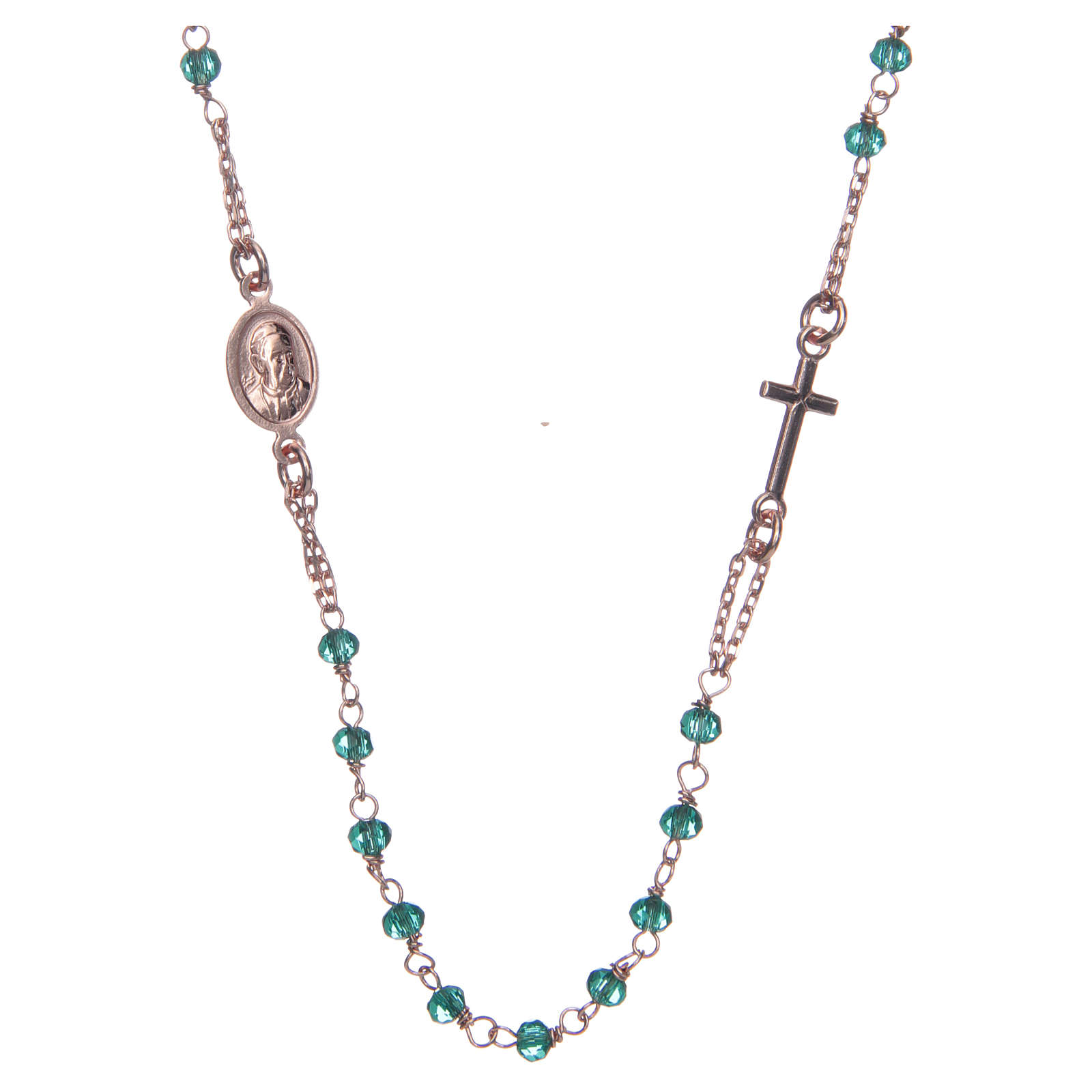 Rosary AMEN Necklace green crystals silver 925, Rosè finish 4