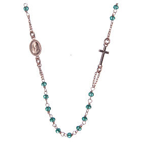 Rosary AMEN Necklace green crystals silver 925, Rosè finish s2