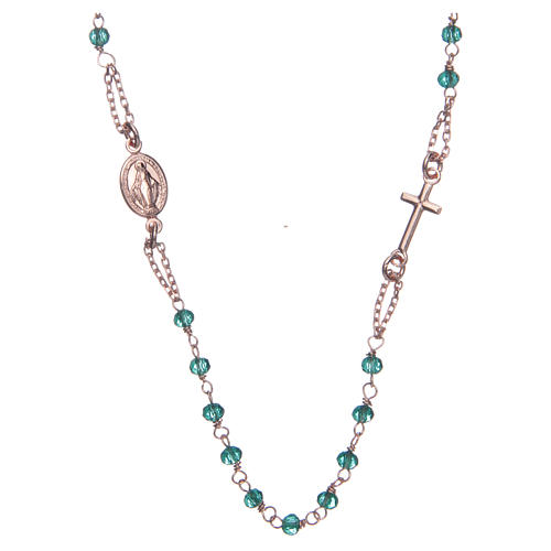 Rosary AMEN Necklace green crystals silver 925, Rosè finish 1
