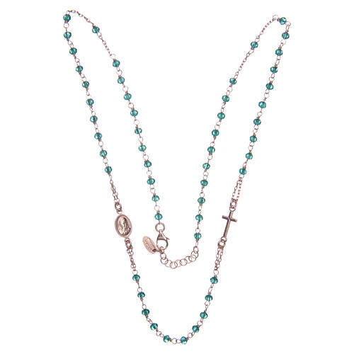 Rosary AMEN Necklace green crystals silver 925, Rosè finish 3