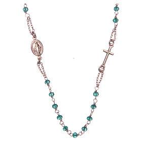 Collar rosario AMEN cristales verdes plata 925 rosado s1