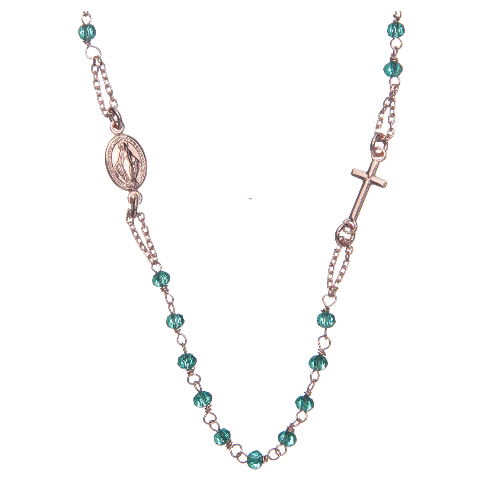 Collana rosario girocollo AMEN cristalli verdi arg. 925 fin. Rosè 4