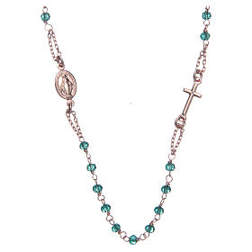 Collana rosario girocollo AMEN cristalli verdi arg. 925 fin. Rosè s1
