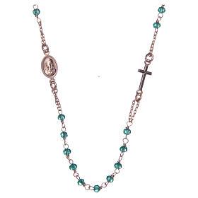 Collana rosario girocollo AMEN cristalli verdi arg. 925 fin. Rosè s2