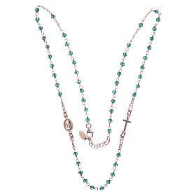Collana rosario girocollo AMEN cristalli verdi arg. 925 fin. Rosè s3