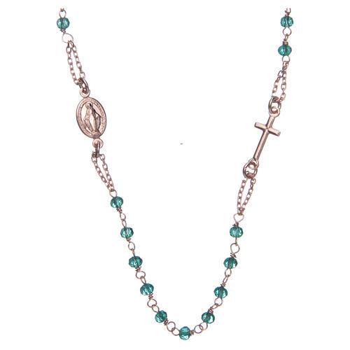 Collana rosario girocollo AMEN cristalli verdi arg. 925 fin. Rosè 1