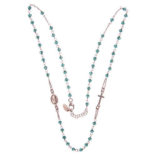 Collana rosario girocollo AMEN cristalli verdi arg. 925 fin. Rosè 3