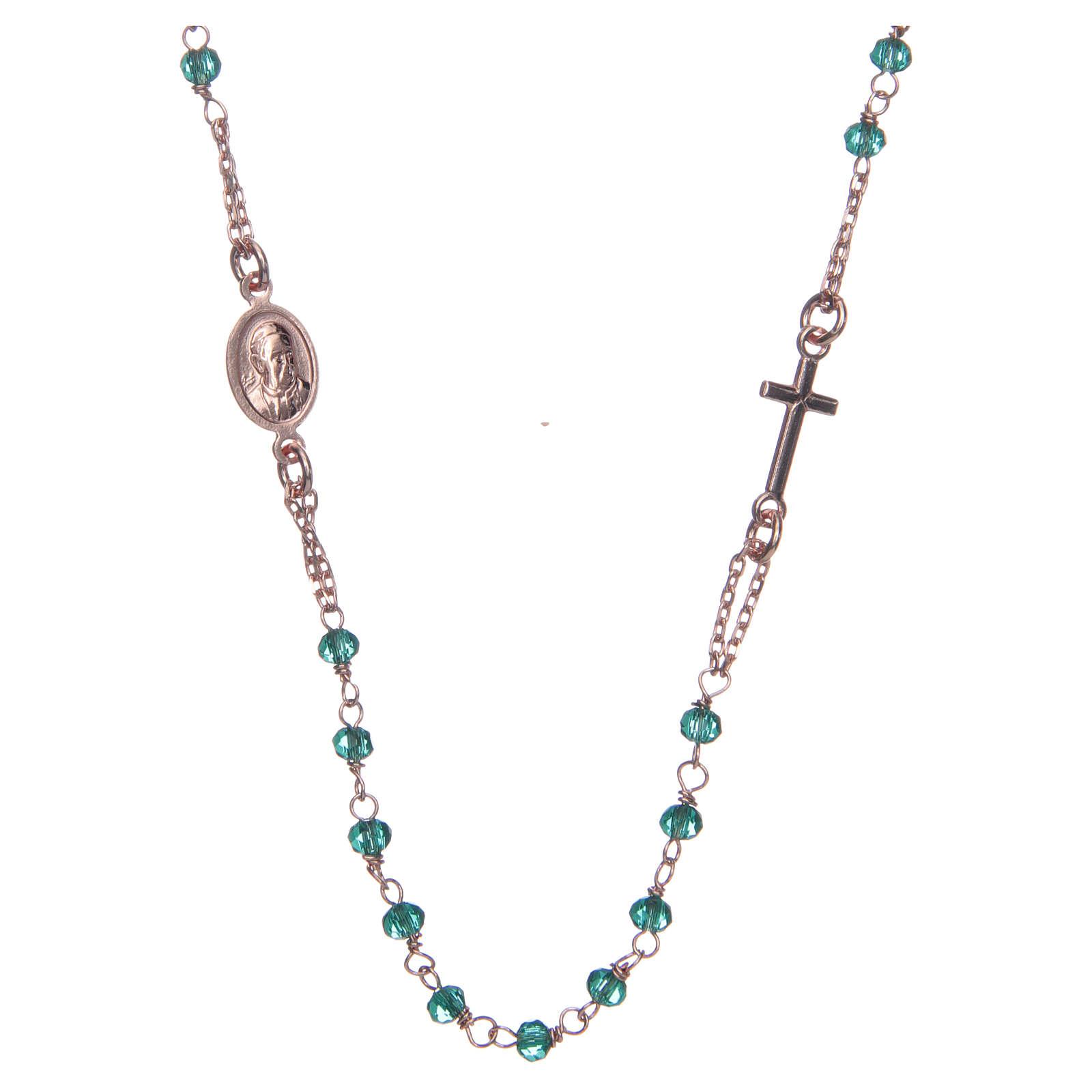 Colar terço gargantilha AMEN cristais verdes prata 925 acab. rosê 4