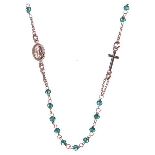 Colar terço gargantilha AMEN cristais verdes prata 925 acab. rosê 2