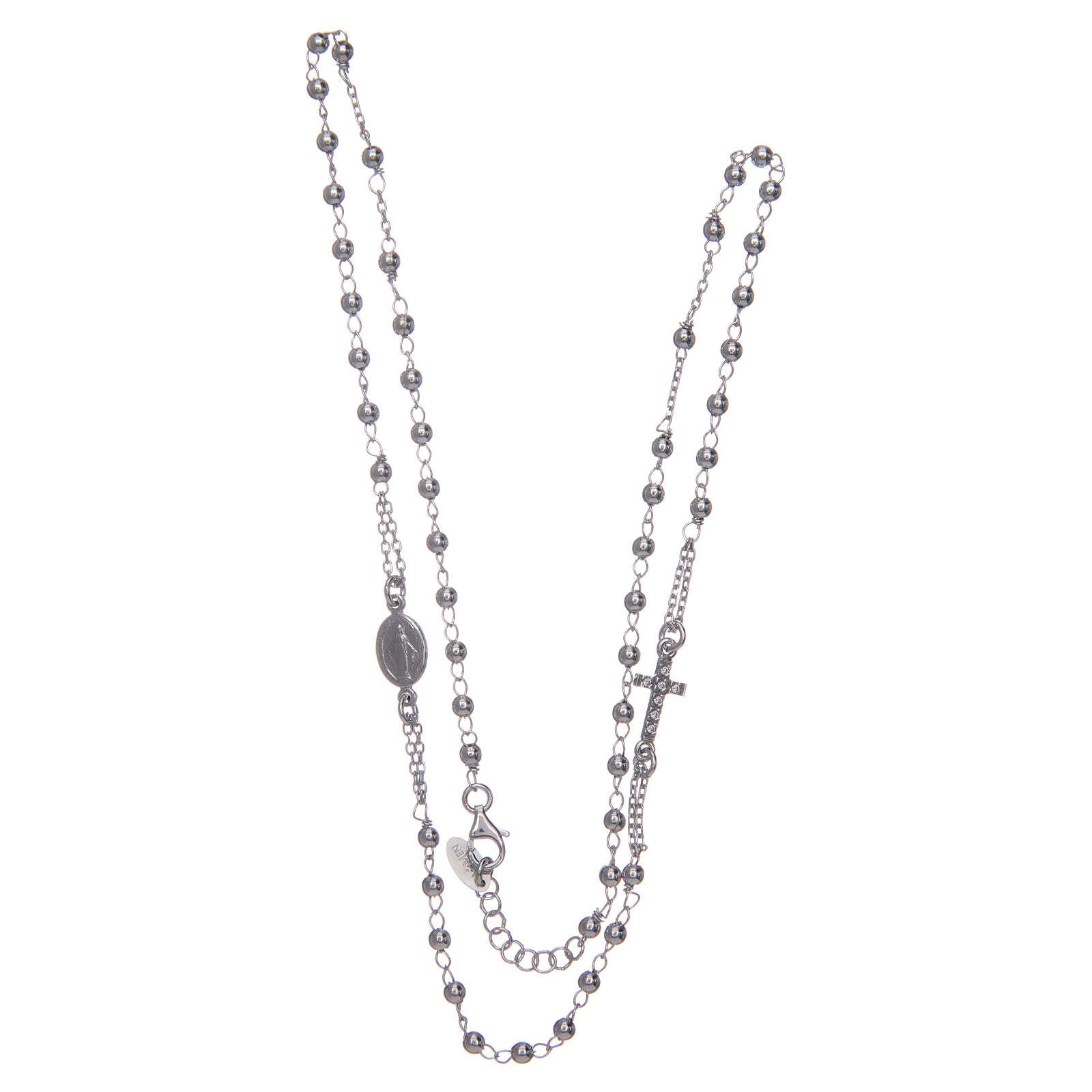 Rosary AMEN Necklace Pavè silver 925, Rhodium finish 4