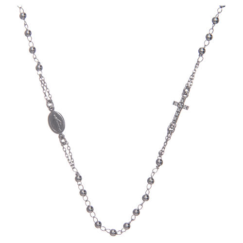 Rosary AMEN Necklace Pavè silver 925, Rhodium finish 1