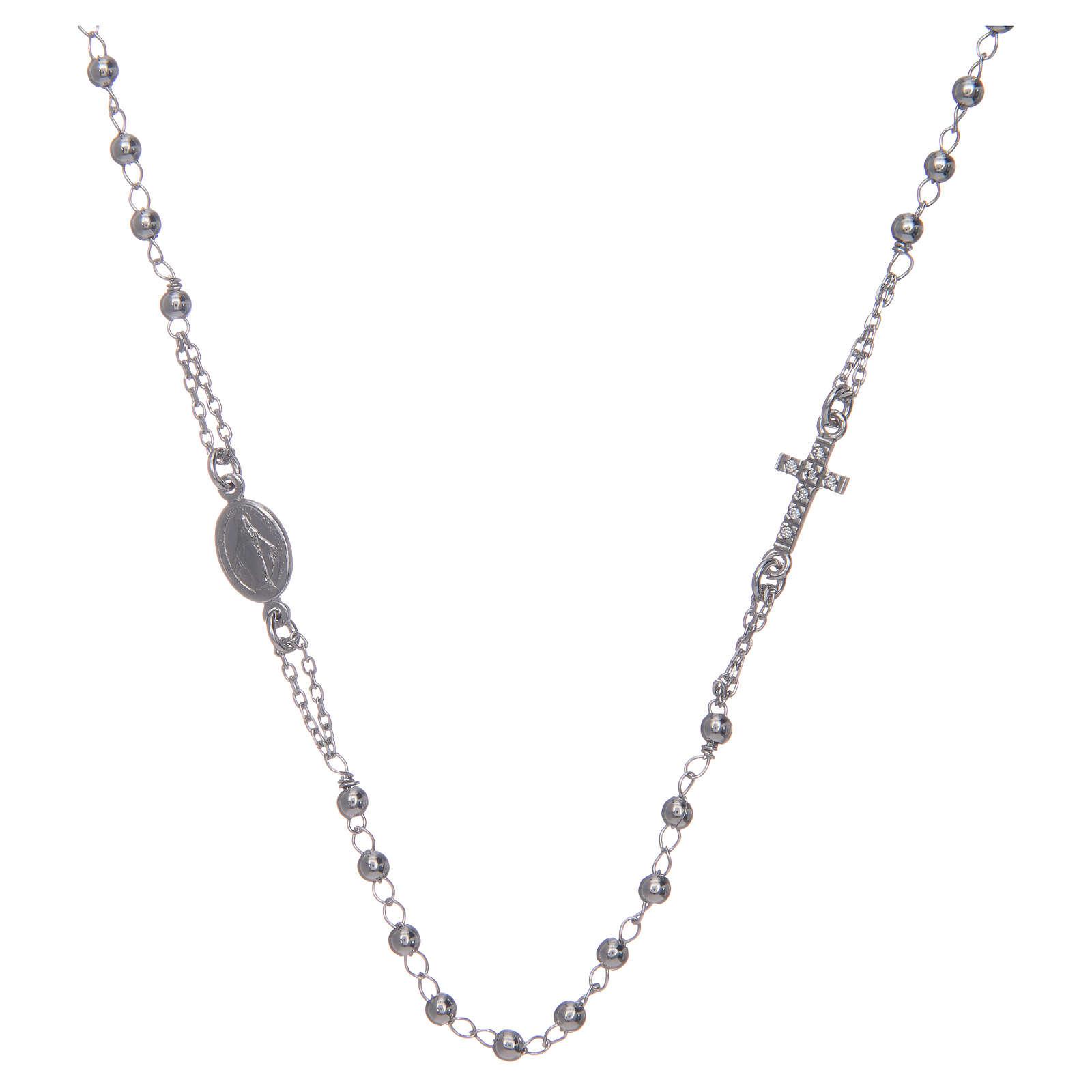Collana rosario girocollo AMEN pavè argento 925 fin. Rodio 4