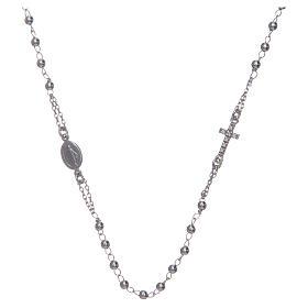Collana rosario girocollo AMEN pavè argento 925 fin. Rodio s1