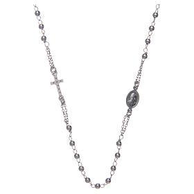 Collana rosario girocollo AMEN pavè argento 925 fin. Rodio s2