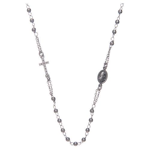 Collana rosario girocollo AMEN pavè argento 925 fin. Rodio 2