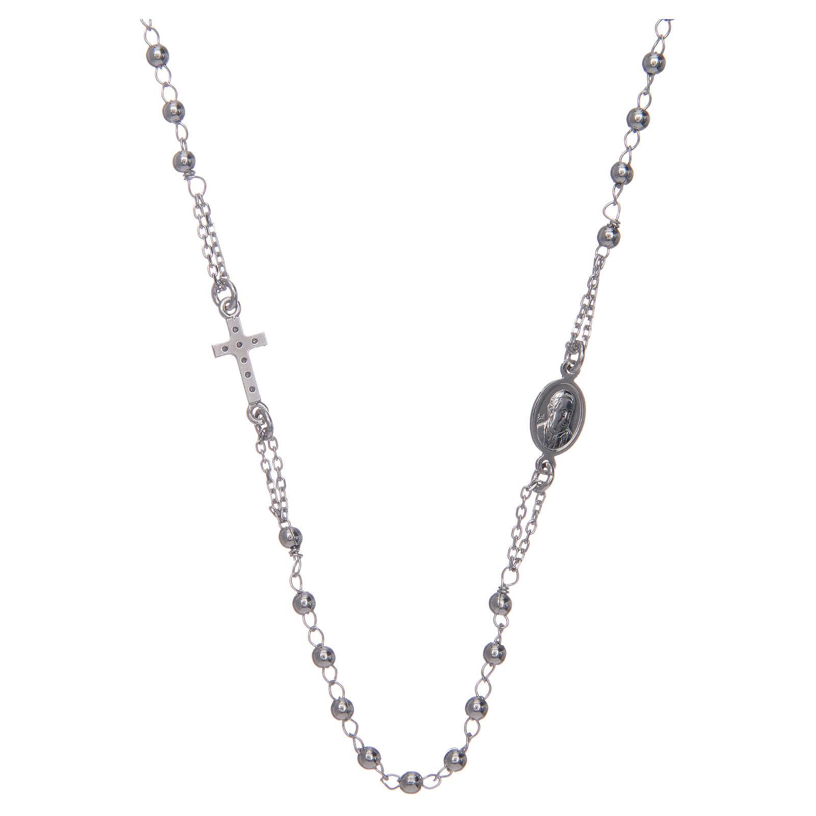 Naszyjnik różaniec na szyję AMEN pave srebro 925 wyk. Rodio 4