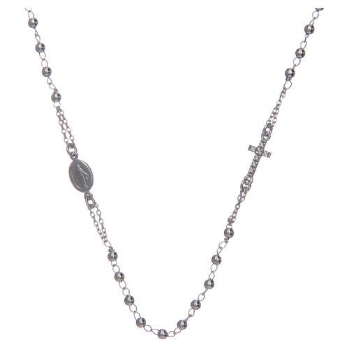 Naszyjnik różaniec na szyję AMEN pave srebro 925 wyk. Rodio 1