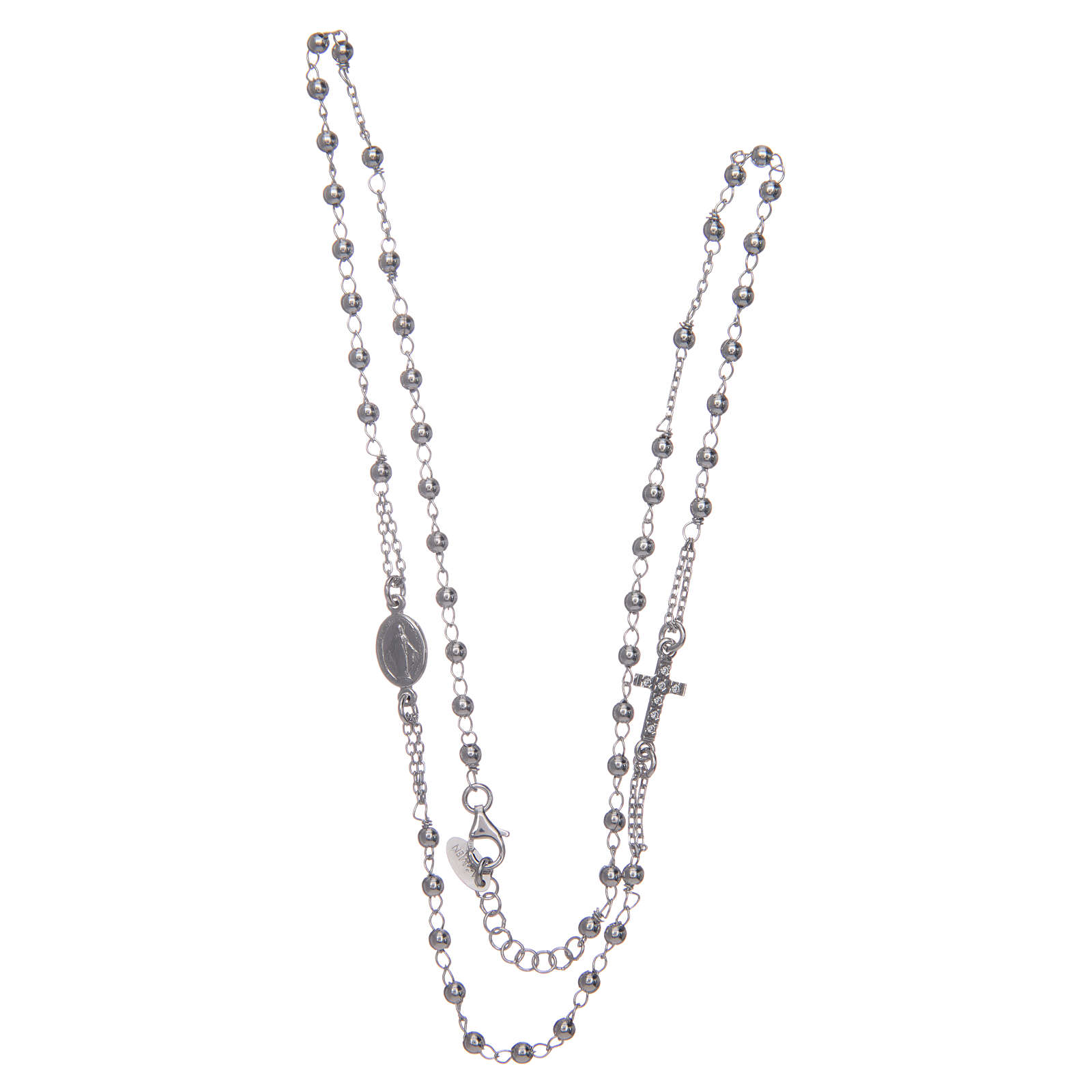 Rosary AMEN Necklace Pavè silver 925, Rhodium finish 4