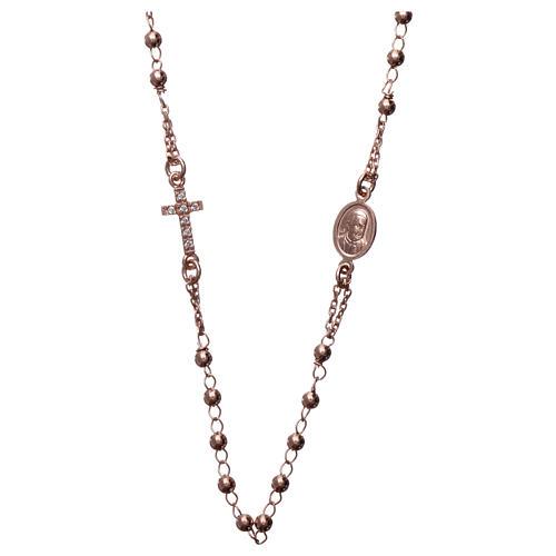 Collana rosario girocollo AMEN pavè argento 925 fin. Rosè 2