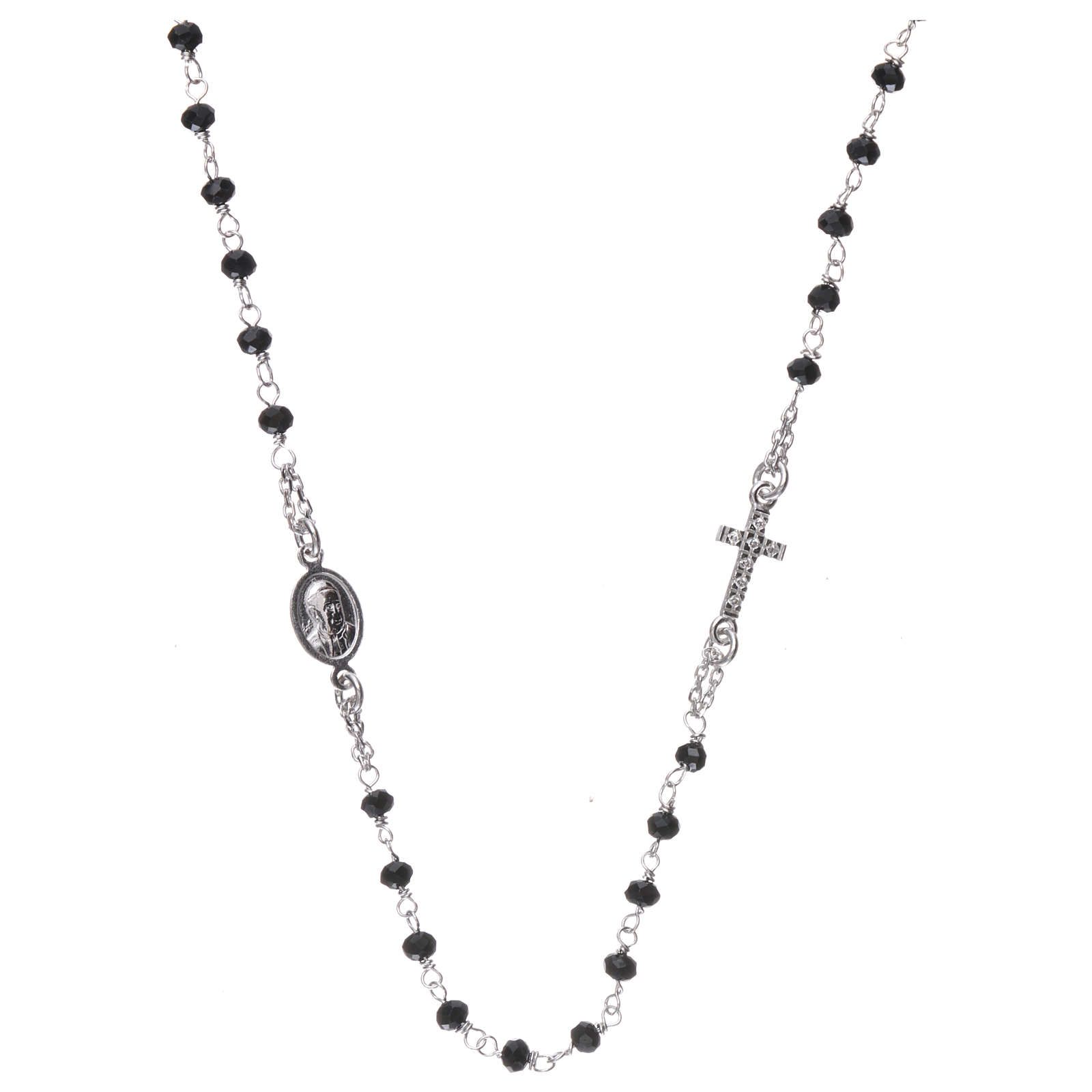 Collar rosario AMEN cristales negros plata 925 rodio 4