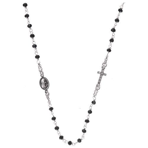 Collier chapelet tour du cou AMEN pavé cristaux noirs arg 925 rhodié 2