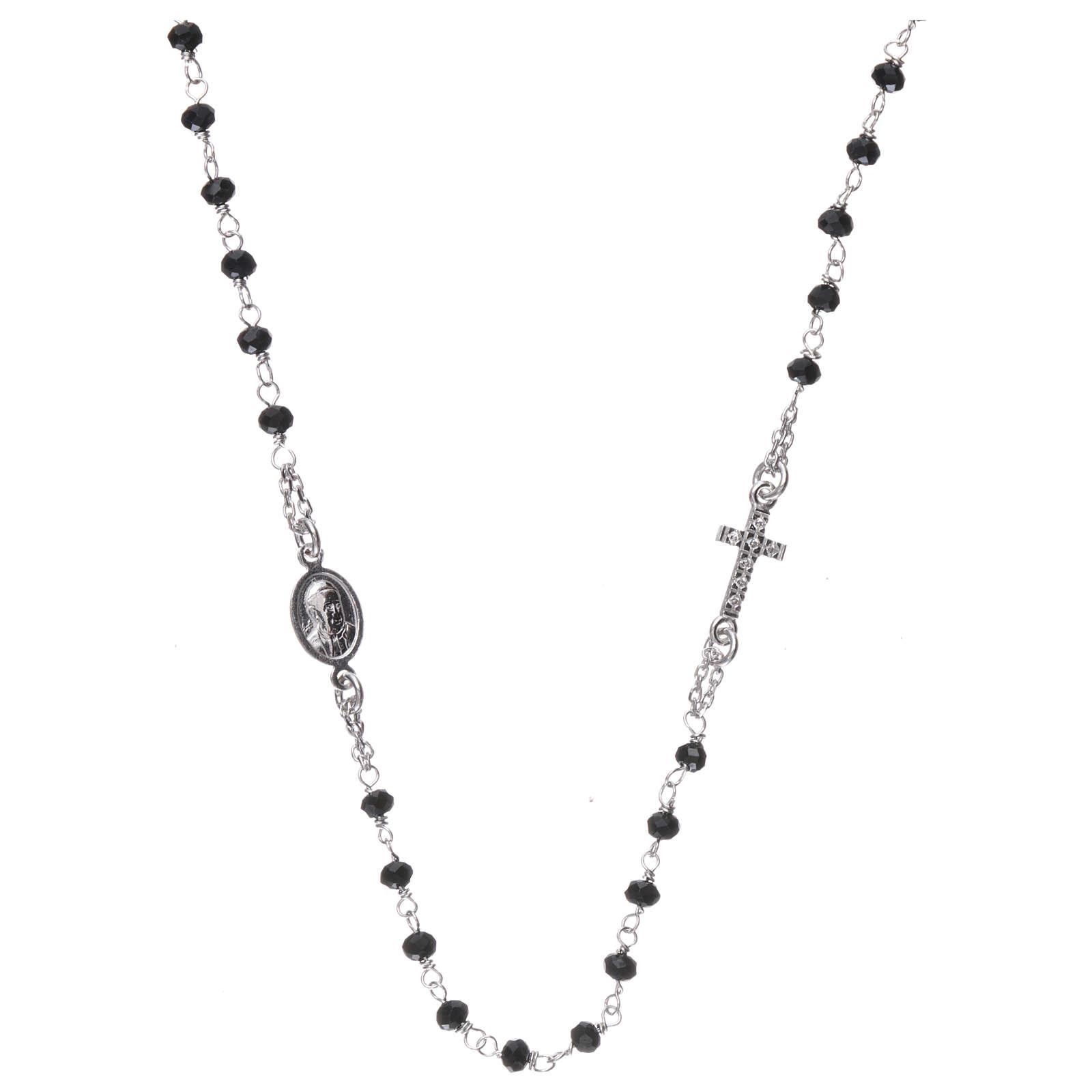 Collana rosario girocollo AMEN pavè cristalli neri arg 925 Rodio 4