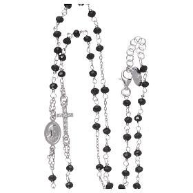 Collana rosario girocollo AMEN pavè cristalli neri arg 925 Rodio s4