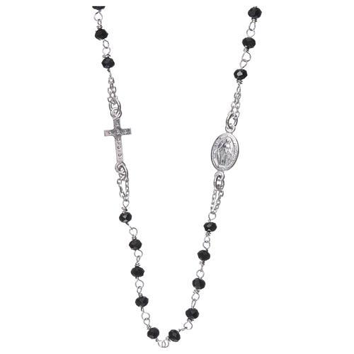 Collana rosario girocollo AMEN pavè cristalli neri arg 925 Rodio 3